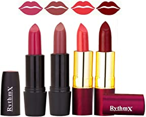 Rythmx Lipstick in Bright Mazanta , Redish Brown and Peach , Maroon shades combo