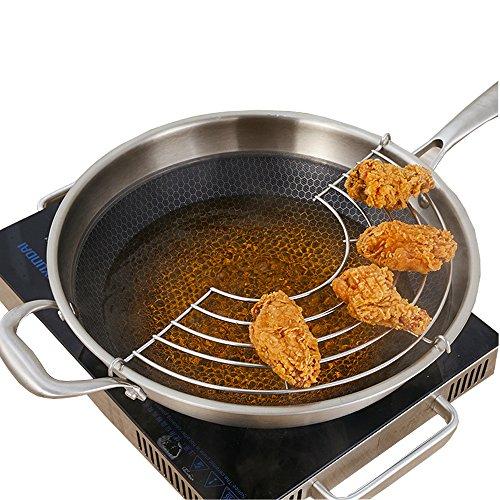 Teerfu - griglia /colino per padella da frittura, per tempura, pollo fritto 28 cm silver