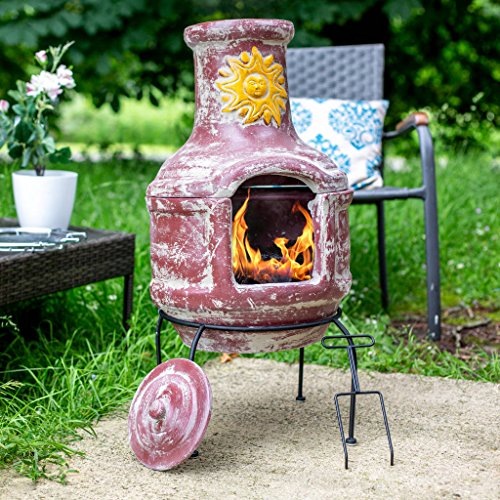 Oxford Barbecues Aurora Clay Chiminea With BBQ Grill And Pizza Stone