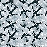 Unbekannt Baumwolljersey Stoff Flugzeuge – grau —