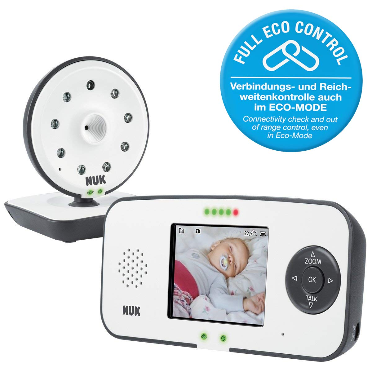 NUK 550VD Eco Control Digitales Babyphone mit Kamera und Video Display, bis zu 4 Kameras