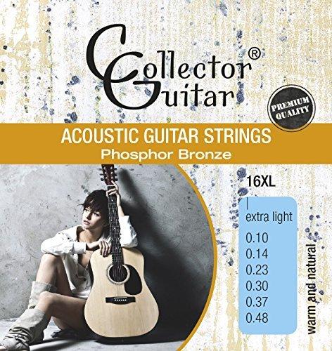 CollectorGuitar Westerngitarren-Saiten 16XL Acoustic Guitar Strings Phosphor Bronze Extra Light 010-048