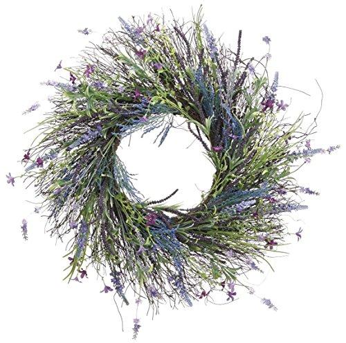 Twisted Gras (61cm Künstlicher Lavendel, Farn, Spring Flowers und Wild Gras Kranz auf Twisted Vine Sockel Innen- und Außenbereich)
