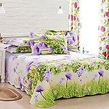 Xuan - Worth Having Grüne lila Blumenmuster Hochwertige Baumwollbettwäsche grobes Tuch 1.5/1.8/2.0m Einzelbett Doppelbett Einzelstück Tagesdecke (größe : 160 * 230cm)