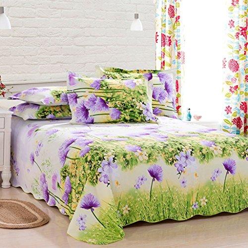 Xuan - Worth Having Green Purple Flower Pattern Draps en Coton de Haute qualité Tissu Grossier 1.5/1.8/2.0m Lit Simple Lit Double Couvre-lit Simple (Taille : 160 * 230cm)