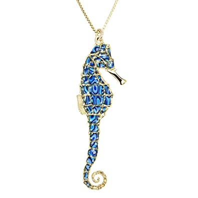 Gold plated sterling silver seahorse necklace pendant blue polymer gold plated sterling silver seahorse necklace pendant blue polymer clay handmade jewellery 165 gold filled chain amazon jewellery aloadofball Gallery