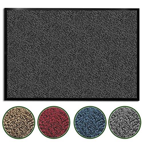 casa pura Premium Fußmatte/Sauberlaufmatte für Eingangsbereiche | Fußabtreter mit Testnote 1,7 | Schmutzfangmatte in 8 Größen als Türvorleger innen und außen | anthrazit - grau | 60x90cm