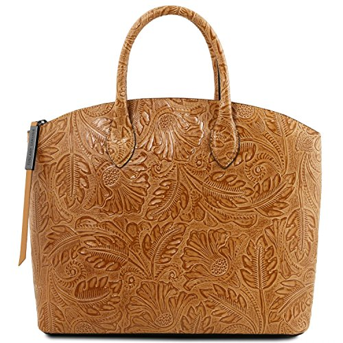 Tuscany Leather Gaia Borsa shopper in pelle stampa floreale - TL141670 (Blu scuro) Cognac