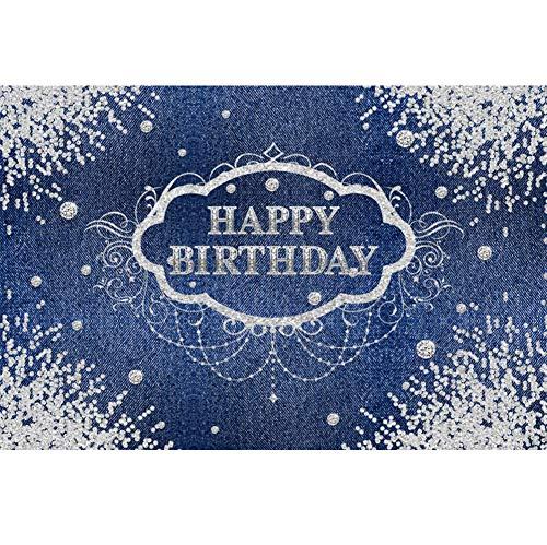 Geburtstag Fotohintergrund Alles Gute ZUM Geburtstags Banner Diamant Cowboy Blaue Tapete Fotoleinwand Hintergrund für Fotoshoot Fotostudio Requisiten Party Photo Booth ()