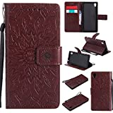 For Sony Xperia M4/M4 Aqua Case [Brown],Cozy Hut [Wallet Case] Magnetic Flip Book Style Cover Case ,High Quality Classic New design Sunflower Pattern Design Premium PU Leather Folding Wallet Case With [Lanyard Strap] and [Credit Card Slots] Stand Function Folio Protective Holder Perfect Fit For Sony Xperia M4/M4 Aqua 5,0 inch - brown