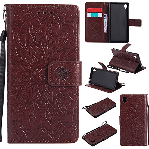 Sony Xperia M4 Aqua Case Leather, Ecoway Sun flower embossed pattern PU Leather Stand Function Protective Cases Covers with Card Slot Holder Wallet Book Design Detachable Hand Strap for Sony Xperia M4 Aqua - brown