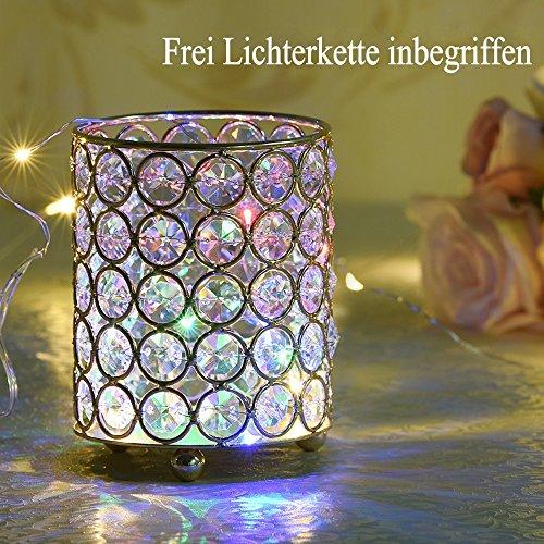 ... VINCIGANT Silberner Zylinder Kristall Teelicht Kerze/Stift/Make Up  Pinsel Inhaber Dekoration Für