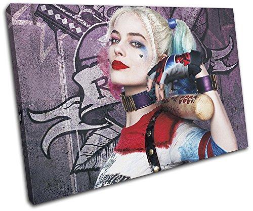(Bold Bloc Design - Suicide Squad Harley Quinn Movie Greats 75x50cm SINGLE Leinwand Kunstdruck Box gerahmte Bild Wand hangen - handgefertigt In Grossbritannien - gerahmt und bereit zum Aufhangen - Canvas Art Print)