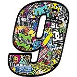 Startnummer Nummer Zahl Auto Moto Vinyl Aufkleber Bomb Sticker Motorrad Motocross Motorsport Racing Tuning (9), N 10
