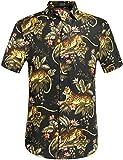 SSLR Herren Hawaiihemd Baumwolle Kurzarm Hemd für Strand Freizeit Tiger 3D Print Aloha Reise Shirts (Large, Schwarz)