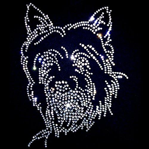 elegantes Shirt für Damen Strass Hundemotiv aus Strass kristall süsser Westi - West Highland White Terrier Weiß