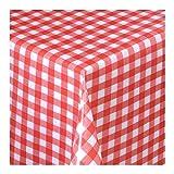 Wachstuch Tischdecke Wachstischdecke Gartentischdecke, Abwaschbar Meterware, Länge wählbar,Klein Kariert Rot Weiß (112-02) 200cm x 140cm
