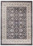 We Love Rugs - Carpeto Traditioneller Klassischer Teppich für Ihre Wohnzimmer - Grau Beige - Perser Orientalisches Ziegler Muster - Blumen Ornamente - Top Qualität Pflegeleicht AYLA 160 x 220 cm Groß