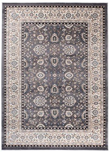 Perser Antik Teppich (We Love Rugs - Carpeto Traditioneller Klassischer Teppich für Ihre Wohnzimmer - Grau Beige - Perser Orientalisches Ziegler Muster - Blumen Ornamente - Top Qualität Pflegeleicht AYLA 140 x 200 cm Groß)