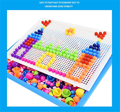 DIY Puzzle Construction Set Toys Baokee@ 296 Tablets Qiaoqiao Variety Mushroom Nail Puzzle Board