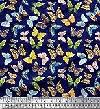 Soimoi Blau Seide Stoff bunt Schmetterling gedruckt Craft