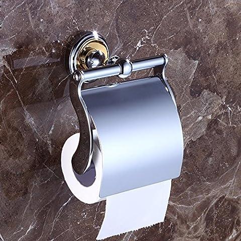 SDKKY Im europäischen Stil alle Kupfer Papier Handtuchhalter, Toilettenpapierhalter, WC-Papier, Sanitär, WC papier, gold Papier Halter