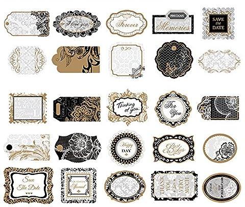 Woodmin Ephemera Pack Vintage Scrapbook Supplies Aufkleber Die-Cut Papier Pack Hinweis und Tag Die Schnitte (25 Stück, SD018)