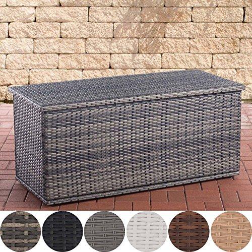 CLP Polyrattan Auflagenbox Comfy l Gartentruhe für Kissen und Auflagen l Größen erhältlich 125, Grau Meliert