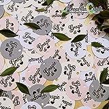 50 pezzi CARTELLINI STAMPATI tondi per bomboniera, GRAZIE di , etichette, nascita, battesimo, bimba, cresima, comunione, tag, bigliettino, bomboniere, compleanno, confettata, grazie di cuore grigio, mix color grigio