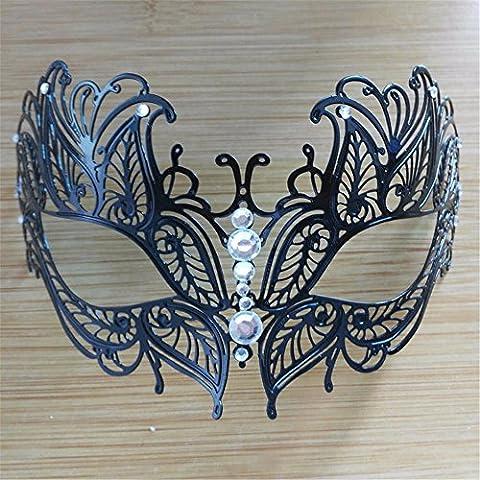 Frau Maskerade Maske Halloween Weihnachten griechische Party Maske Karneval Maske Metall Maske, schwarz, (Griechischen Frau Kostüm)