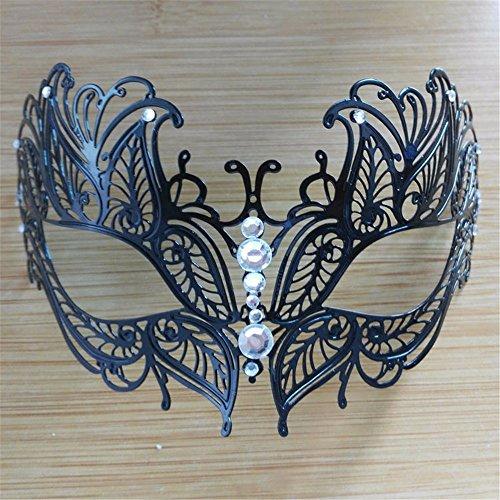 Frau Maskerade Maske Halloween Weihnachten griechische Party Maske Karneval Maske Metall Maske, schwarz, (Ziemlich Maske Frau Zombie)