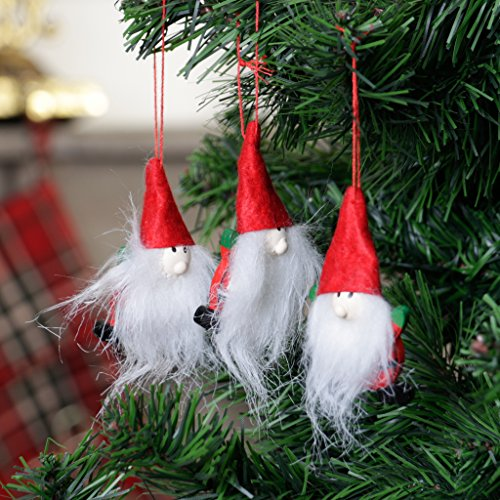 Holz Set von 3Santa Claus Weihnachtsbaum Festive Ornaments–Handgefertigt Stil Rustikal Christbaumkugeln perfekt für Vielzahl von Home Styles–Rot Aufhängen Schlaufen für einfachen Aufhängen (H7X 4cm)