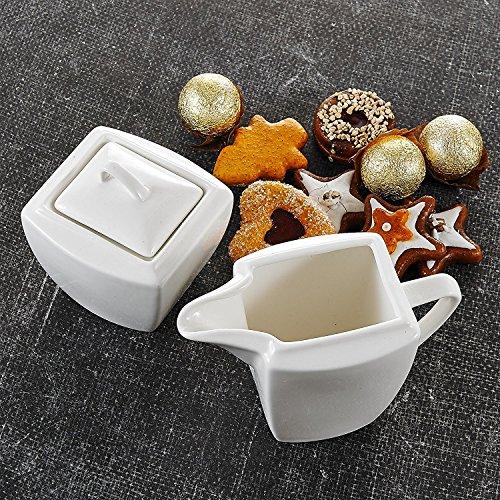 Malacasa, Serie Blance, 9 tlg. Porzellan Milch- & Zucker Kännchen Set, mit jeweils 3 Milchgießer, Zuckerdose und Deckel
