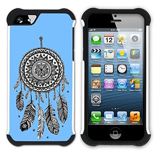 Graphic4You Traumfänger (Lila) Hart + Weiche Kratzfeste Hülle Case Schale Tasche Schutzhülle für Apple iPhone SE / 5 / 5S Babyblau