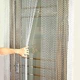 lyrlody Cortina de Tira de Cadena de Metal Cortina de Aluminio Pantalla de Decoración de la Puerta Inoxidable Anti Moscas Control de Insectos 90 x 214.5cm Plata