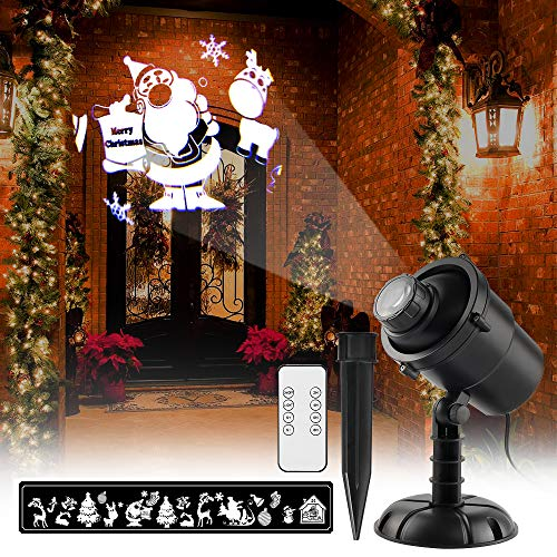 Lampada a proiezione di natale con telecomando led luci di natale 3d illuminazione 20 figure ip65 impermeabile rotazione per la decorazione di pareti interne ed esterne garden party