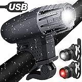 Fahrradlichter set,Fahrradlicht USB Aufladbar Fahrradlampe LED Set Frontlicht & Rücklichter IPX65 Wasserdicht 4 Licht-Modi 1 USB-Kabel Fahrrad Licht für Radfahren,Wandern,Laufen,Walking,Camping