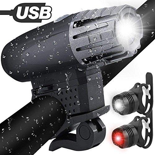 Preisvergleich Produktbild Fahrradlichter set, Fahrradlicht USB Aufladbar Fahrradlampe LED Set Frontlicht & Rücklichter IPX65 Wasserdicht 4 Licht-Modi 1 USB-Kabel Fahrrad Licht für Radfahren, Wandern, Laufen, Walking, Camping