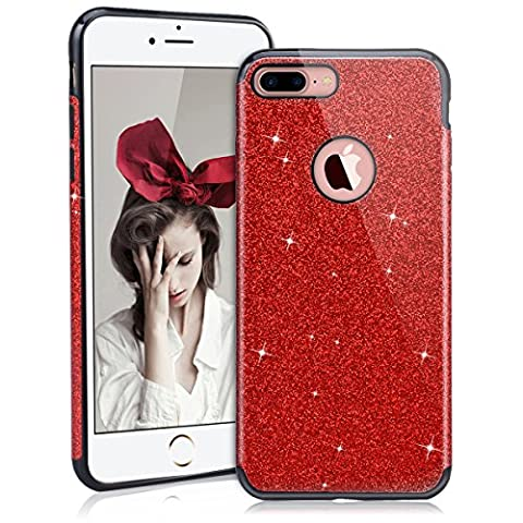 SmartLegend iPhone 7 Plus Case Glitter, Luxury Sparkling Bling Soft Silicone Case Cover for Apple iPhone 7 Plus, Anti Slip Scratch-Resistant Design Practical Elegant Lightweight Ultra Thin TPU Bumper Cover Smartphone Protective Skin Shell for Apple iPhone 7 Plus - Red