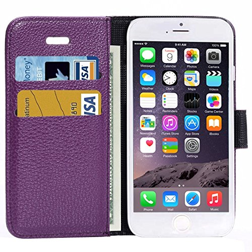 Matte Litchi Texture Ledertasche Cover mit Card Slots und Halter für iPhone 6 & 6S by diebelleu ( Color : Purple ) Purple