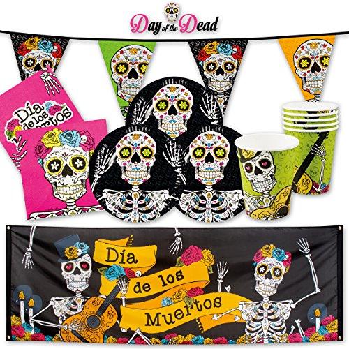 Day Of The Dead Halloween PartyBox - für Halloweenparty & Dia De Los Muertos Festlichkeit - Party Set (Premium für 12 Gäste - 39-tlg.)