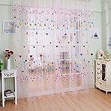 La Cabina Rideau Voilage Fenêtre Ballon Tulle Voile Porte Rideau Drapé Sheer Cantonnières 100*200 cm