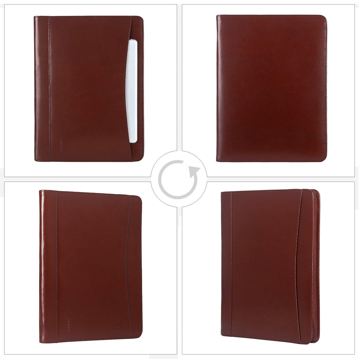 bde60694c942 Leathario-Portfolio A4 en cuir PU pour bureau, porte document en ...