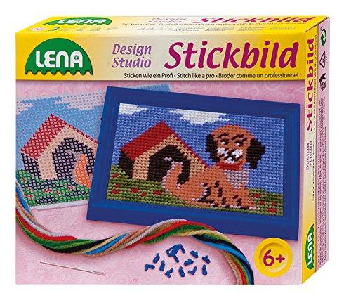 Lena 42603 - Bastelset Stickbild Hund, mit Stickrahmen, stumpfer Nadel aus Metall, Wollgarn und Stickgitter mit Vordruck, Stickset für Kinder ab 6 Jahre, Komplettes Set mit Anleitung zum Sticken eines Stickbildes mit einem Hündchens