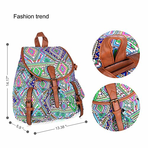 Vbiger Damen Rucksack Damen Daypack Backpack Canvas Rucksack Vintage Rucksack Schulrucksack mit Großer Kapazität Bunt+