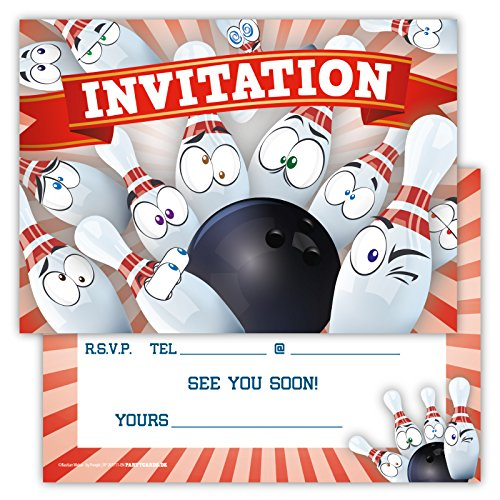 funny-birthday-invitations-pack-of-12-for-boys-girls-kids-bowling-party-with-smiley-emoji-postcard-g