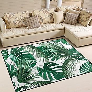 Use7 Tropical Feuilles De Palmier Jungle Vert Feuille Zone Tapis
