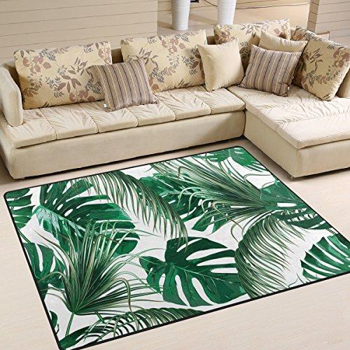 Use7 Alfombra de Palma Tropical, diseño de Hojas de Jungla, Color Verde, para salón, Dormitorio, Tela...