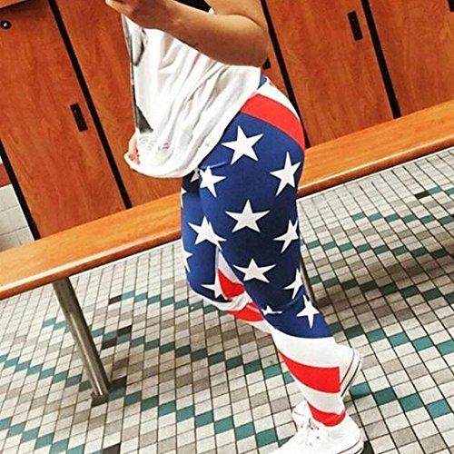 Pantaloni da yoga KOLY I pantaloni casuali della stampa di stirata delle donne tagliano i pantaloni pieni di sport sottili della tasca delle cinghie Blue