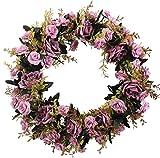 XIUER Rose Blumen Zweig Kranz, 50cm, handgefertigte künstliche Blumen, die Tür-Kranz-Wanddekoration für Hochzeit, Dekoration, 1Stück violett